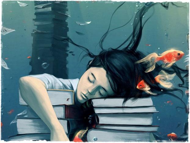 Уставшая девушка спит за книгами