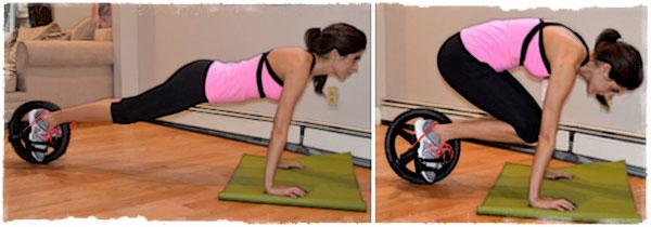 Упражнение ноги к груди с колесом на ногах