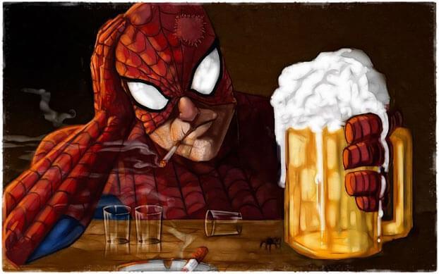 Spiderman пьет пиво