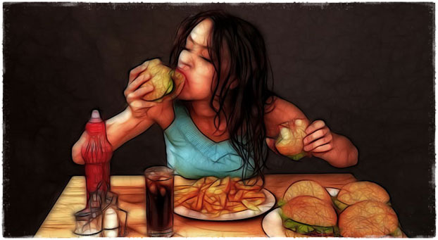 Девушка точит гамбургер