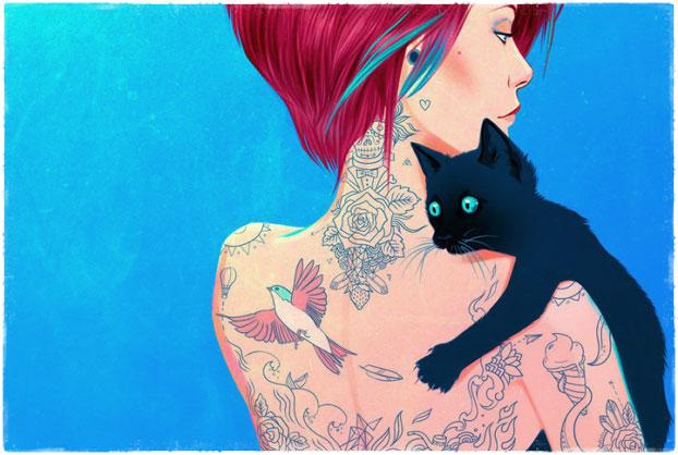 Девушка с татуировкой кота