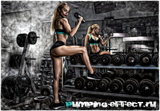 Блондинка в спортзале