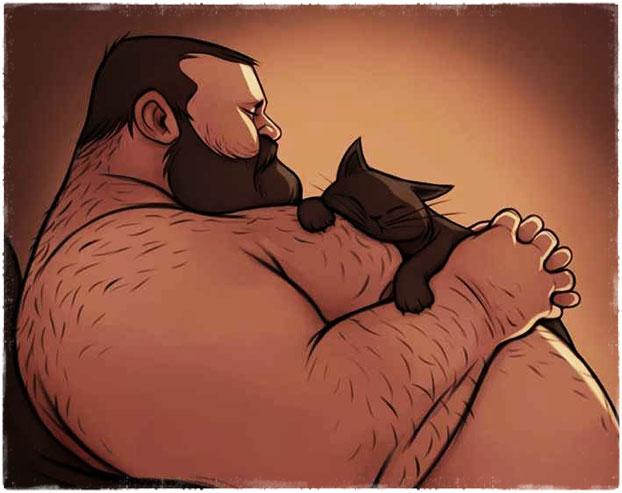 Жирный мужик с котом