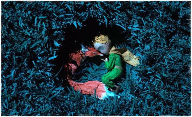 Лис и принц на траве