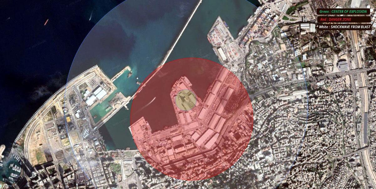 Зона поражения взрыва в Бейруте на карте